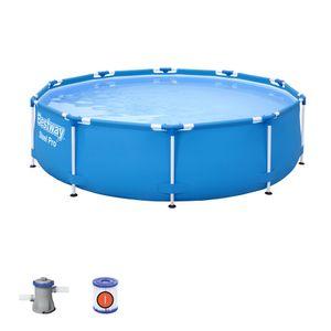 Bestway Steel Pro Aufstellpool mit Filterpumpe - Framepool - Gerahmt Rund -  Modell 56679 - 305 x 76 cm - Blau - 4678 Liter
