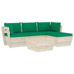 vidaXL 5-tlg. Garten-Sofagarnitur aus Paletten mit Kissen Fichtenholz