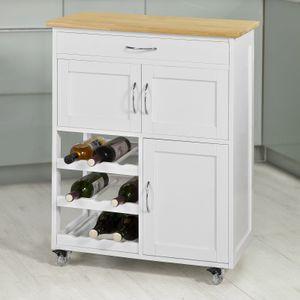SoBuy Küchenwagen Küchenschrank mit Flaschenablagen und Schublade FKW45-WN