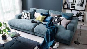 Big Sofa Stoff verschiedene Farben KAWOLA petrol E