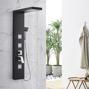 Lonheo Multifunktion Duschpaneel Schwarz Duschset Edelstahl Duschsäule Regendusche mit Massagedüsen Handbrause und Überkopfdusche