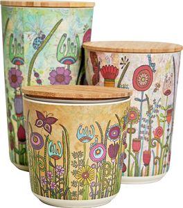 WENKO 3er Set Garden Aufbewahrungsdosen mit luftdichten Deckel aus Bambus für die Küche | nachhaltige Aufbewahrungsbehälter