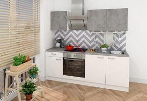 respekta Küche Küchenzeile Einbauküche Küchenblock Komplett 210 cm weiß Beton