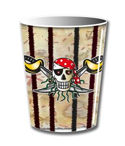 Red Pirate Pappbecher Piraten Party 8 Stück