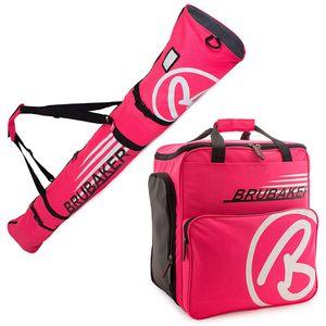 BRUBAKER Kombi Set CHAMPION - Limited Edition - Skisack 170 cm und Skischuhtasche für 1 Paar Ski + Stöcke + Schuhe + Helm Pink Weiss