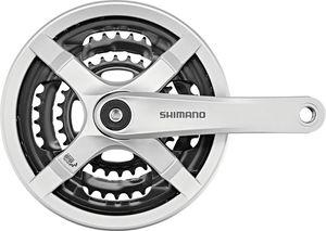 Shimano FC-TY501 Kurbelgarnitur 6/7/8-fach 48-38-28 Zähne mit Kettenschutzring silber Kurbelarmlänge 170mm