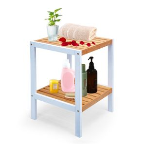 Badregal Küchenregal Nachttisch mit 2 Ablagen Eckregal aus Bambus