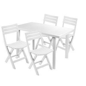 Sitzgarnitur Gartengarnitur 5-teilig Weiß