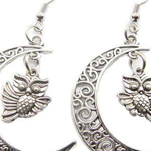 Mllaid Silber Mond und Steinkauz Ohrringe Mond-Schmuck Mondsichel-Schmuck Eulen-Ohrringe