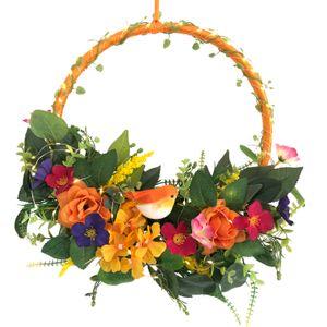 Blumenkranz mit LED Beleuchtung und Timer, Blütenkranz mit Schmetterlingen, Fensterkranz, Türkranz - Deko Frühling Sommer - Bunt