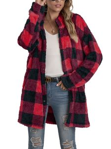 Damen Winter Warm Plaid Jacke Cardigan Plüsch Casual Top,Farbe: Jujube Farbe,Größe:M