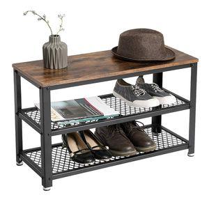 VASAGLE Schuhregal für 9 paar Schuhe mit Sitzfläche 73 x 45 x 30 cm Sitztruhe mit Metallgestell Schuhbank aus Holz Vintage LBS73X