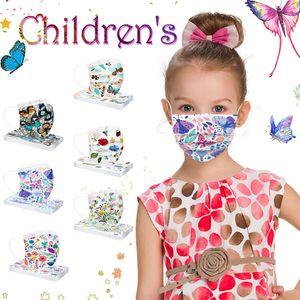 50 stk Kinder Einwegmaske Blume Einweg Gesichtsmaske Mund-Nasen-Schutz 3-lagig Gesichtsschutz für Mädchen