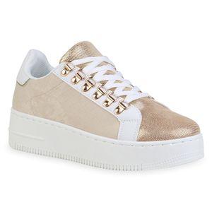 Giralin Damen Plateau Sneaker Schnürer Keilabsatz Glitzer Schuhe 836363, Farbe: Beige Gold Muster Metallic, Größe: 39