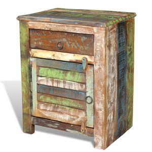 【Neu】Nachttische Nachtschrank mit 1 Schublade,Tür Altholz Gesamtgröße:45 x 33 x 55 cm BEST SELLER-Möbel-Tische-Nachttische im Landhaus-Stil