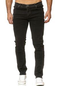 Reslad Jeans-Herren Slim Fit Basic Style Stretch-Denim Jeans-Hose Schwarz (2092) W36 / L34