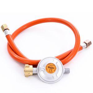 Gasschlauch Set bestehend aus Gasdruckregler 50 mbar und flexiblem Gasschlauch 80 cm - ideal für Gasgrills, Heizstrahler, Hockerkocher, Gaskocher, Lampen, uvm.