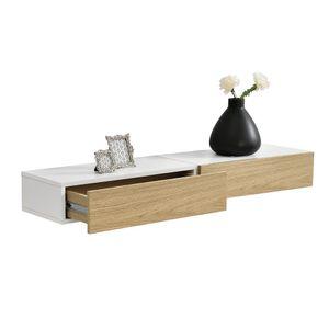 [en.casa] 2er Set Wandregal mit Schublade Weiß/Holz Hängeregal Wand Regal Schrank Tisch Nachtschrank Kommode Wandboard Wandschublade