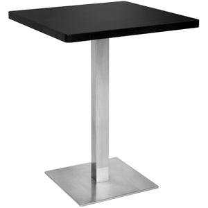 Bartisch Bistrotisch Tisch Schwarz Eckig Edelstahlfuß 60x60x75 M-BT60/1854