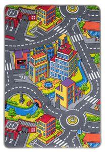 Straßenteppich 100 x 165 cm Kinderteppich City Autoteppich Stadt Straßenlandschaften Spielteppich