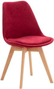CLP Stuhl Linares Kunstleder Stoff Samt, Farbe:rot, Material:Samt