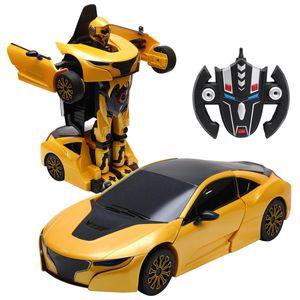 COSTWAY 2,4 GHZ RC Transformator Roboter-Auto Ferngesteuert Auto & Robot verwandelbar 1:14RS gelb