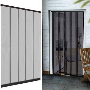 Insektenschutz Vorhang für Türen 125 x 240 cm aus Polyester in anthrazit - Türvorhang mit eingenähten Gewichte + selbstklebender Klemmleiste