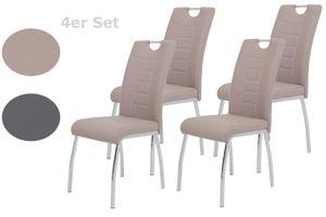 4er Set Stuhl Andrea S - Kunstleder Cappuccino - Bügelgriff und Metallgestell verchromt