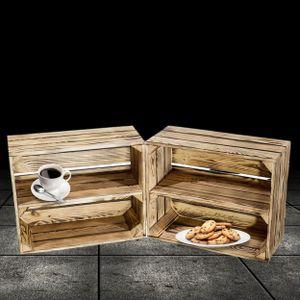 2 geflammte Holzkisten mit Regalboden 50x40x22cm / kleines, dekoratives Schuhregal