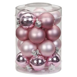 Weihnachtskugeln Glas 3cm, 20 Stück, Farbe:Pink Blush - altrosa hellrosa