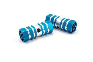 vhbw Fußrasten Fußstützen Axle Pegs Stunt Pegs blau passend für Fahrrad, BMX Bike
