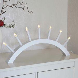 Lichterbogen 'Aura' - 7 warmweiße Glühlampen - L: 58cm, H: 29cm - Holz - Schalter - Weiß