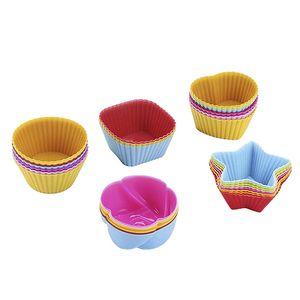 CANDeal 30 Stück Silikon Backförmchen, Wiederverwendbare Muffinformen, Muffinförmchen Cupcakeförmchen Backförmchen Muffin Form Cupcake Förmchen, 5 Formen mit Sortierte Farbe