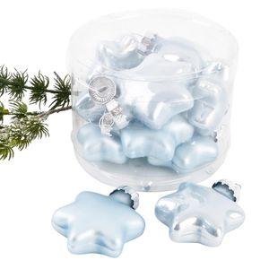 Weihnachtskugel Sterne Premium 10er Set Glas 4x4x2cm blau