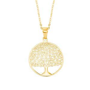 Amor Schmuck Kette mit Anhänger für Damen, Gold 375, Lebensbaum