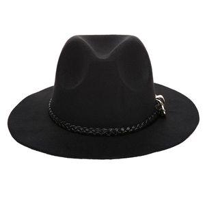Fedora Hat w / verstellbarer Gürtel für Frauen Festival Frühling Winter Hochzeit schwarz 34 x 30 x 13 cm