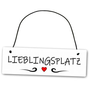 Hochwertiges Schild 25 x 8 cm Lieblingsplatz weiß Dekoschild Wandschild schönster Ort