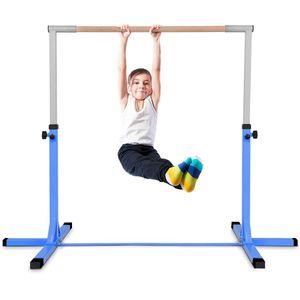 COSTWAY Gymnastik Turnreck, Trainingsgeraete hoehenverstellbar, Turnstangen bis 100kg belastbar, Heimtraining, Blau