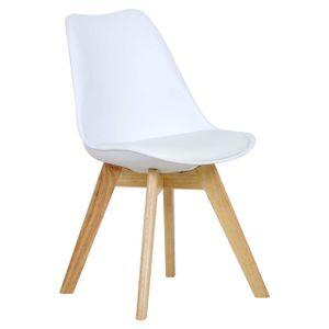 WOLTU Esszimmerstuhl 1 Stück Esszimmerstuhl Design Stuhl Küchenstuhl Holz weiß
