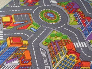 Kinderteppich Straßenteppich City Autoteppich Stadt Straßenlandschaften Big City 3D