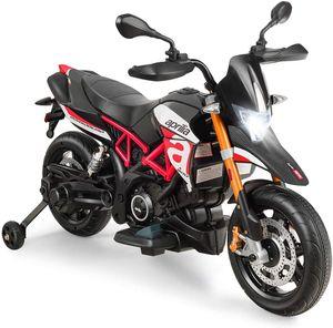 GOPLUS 12V Elektro-Motorrad mit Schweinwerfer/Musik, Kindermotorrad mit Stützrädern, Elektroauto, Kinderwagen, Kinderfahrzeug für 3 - 8 Jahren, Elektrofahrzeug mit Gashebel