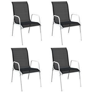 4x Stapelstühle Gartenstühle Esszimmerstühle ,stabil und komfortabel,für Garten & Balkon & Terrasse,bis 150 kg belastbar ,Stahl und Textilene Schwarz⭐1766
