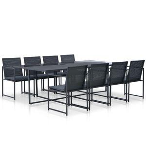Huicheng Poly Rattan 9-tlg. Garten Essgruppe Esstischgruppe mit Stahlrahmen Tisch 8 Sessel und Auflagen Schwarz
