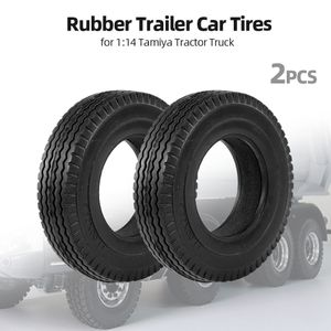 2 stuecke anhaenger auto gummireifen fuer 1:14 tamiya traktor lkw rc klettern anhaenger