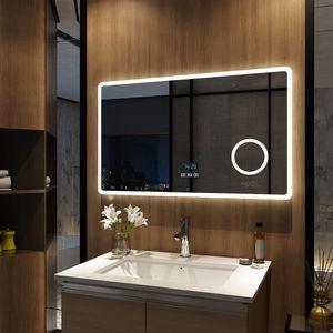 Meykoers LED Badspiegel 100x60cm Beleuchtung Badezimmerspiegel Wandspiegel mit Bluetooth 4.1 Lautsprecher, Touch-Schalter mit 3 Lichtfarbe 3000-6500K, Beschlagfrei, Dimmbar, Vergrößerungsspiegel