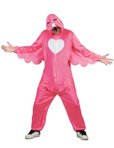 Flamingo Herren Kostüm mit Overall und Fußstulpen zu Karneval Fasching
