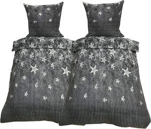 4 tlg Winter Bettwäsche 135x200 Flausch Thermo Fleece Garnitur Warm Grau Sterne