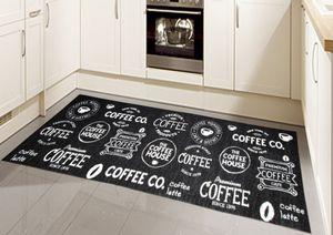 Teppich Modern Flachgewebe Gel Läufer Küchenteppich Küchenläufer Schwarz Weiss mit Schriftzug Coffee Größe - 67x180 cm