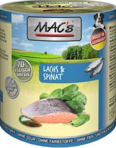 6x800g MAC's dog Lachs & Spinat Hundefutter Nass