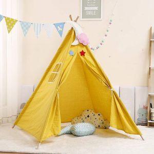 1,1 m tragbare Kinderzelte Spielhaus Kinder Baumwolle Leinwand Spielzelt Wigwam Kind Little Tipi Raumdekoration -Gelb